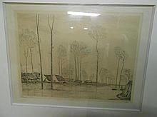 Jean-Emile LABOUREUR 1877-1943. «Inondation». Eau-forte. Signée et justifiée 1/4. 24,5 x 32 cm