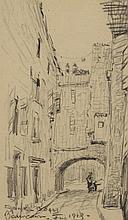 FRANK-BOGGS (1855-1926). «Rue à Beaucaire, 1913». Fusain. Signé, situé et daté vers le bas. 19 x 12 cm.