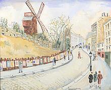 Lucien GENIN (1894-1953) . «Le Moulin Rouge». Gouache . Signée en bas à droite . 31,5 x 40 cm .