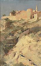 Paul GERVAIS (1859-c.1936). «Village fortifié, 1888». Huile sur toile. Signée et datée en bas à droite. 41 x 27 cm.