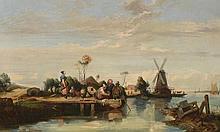 LEPOITTEVIN (Actif au XIXè). «Paysage de Hollande». Huile sur toile. Porte une signature en bas à droite. 49 x 80 cm. Usures, restaurations..