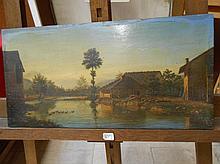 Ecole Française vers 1880. «Paysage champêtre». Huile sur acajou. Signé «Nozerine» en bas à gauche. 22 x 43 cm
