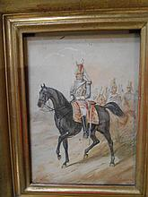 Henry DUPRAY 1841-1909. «Officier de cavalerie, 1860». Aquarelle. Signée et datée en bas à gauche. 14 x 10 cm
