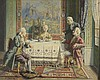 Emilien BARTHELEMY (1885-?). «Le déjeuner gourmand ; Le déjeuner galant». Deux huiles formant pendant. Chaque signée. 34 x 41 cm.