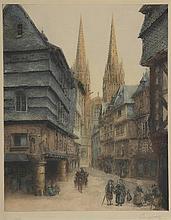 GAUGET. «rue de la cathédrale animée». Epreuve d'artiste en couleur signée en bas à droite. 49.5 x 39 cm