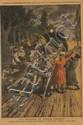Page du petit journal encadrée.  «l'attaque du courrier de Lyon ». 42 x 29 cm à vue