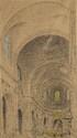 A. DEKEIRET. «Versailles, l'église saint Louis». Crayon et pastel. Situé et signé en bas à gauche. 61.5 x 34.5 cm à vue
