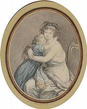 Anne Félicité Simone de SERENT. (1773 - 1846). «Madame Vigée - Lebrun et sa fille». Pierre noire, lavis gris et aquarelle. 20,5 x 16,2 cm, ovale. Signé et daté en bas S. de Serent fecit 1792. . Notre dessin est une reprise de la gravure de