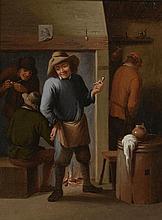 *TENIERS David (suiveur de). «les fumeurs». Toile. 31.5 x 24 cm