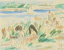 Nino GIUFFRIDA (né en 1924) . «Au bord de la mer, 1968». Feutre et aquarelle . Signé et daté en bas droite . 22,5 x 29,5 cm . Experts: OTTAVI - PELLISSON