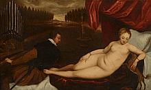 *Ecole Italienne XVIIème. «Odalisque nue écoutant un musicien». 47 x76 cm