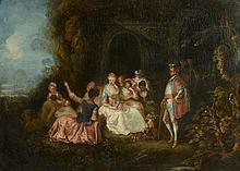 *QUILLARD Pierre Antoine (att à) (1700 - 1733). «assemblée dans le parc». Toile. 83 x 116 cm
