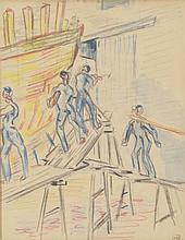 Kurt HINRICHSEN (1901-1963) . «Ouvriers aux chantiers navals». Aquarelle et crayons de couleurs . Signé du cachet en bas à droite . 21 x 17 cm à vue . Experts: OTTAVI - PELLISSON