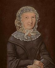 Ecole Française XIXème. . «portrait de dame au fichu blanc». Toile signée illisible et datée 1845 en bas à gauche. (restaurations & réentoilée). 42.5 x 32 cm