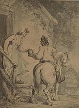 Ecole Française début XIXème. «le coup de l'étrier». Aquarelle. 16 x 13 cm