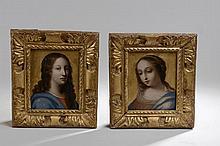 *STELLA Antoine ou BOUZONNET Stella (1637 - 1682). «Ecole Française XVIIème». «la Sainte Vierge et saint Jean Baptiste». Deux huiles à fond or sur cuivre formant pendant. 16 x 12.5 cm