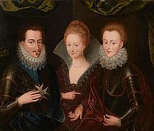Ecole FRANCAISE du XVIIème siècle. «Portraits d'Henri de Guise et sa femme Catherine de Clèves avec Charles de Guise, ducs de Lorraine». Panneau parqueté. 37,5 x 45,5 cm. Restaurations. Sans cadre. /7. Expert: R. MILLET