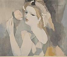 Laurencin Marie. «jeune femme à la rose». Lithographie HC signée en bas à droite. 45 x 54 cm à vue