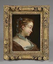 *Ecole Française XVIIIème. «jeune fille au ruban bleu». Toile. 25 x 19.5 cm. Cadre d'époque XVIIIème