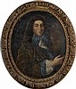 Ecole Française XIX ème. «portrait d'homme de qualité en buste». Toile (acc). 74 x60 cm. Cadre en bois sculpté doré à décor floral d'époque XVIIIème