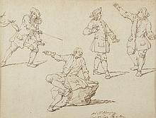 *RINDINGER Hohann Elias (1698  -1767). «étude de personnages». Plume. Signée en bas au centre, datée 1722. 20.5 x 26.5 cm