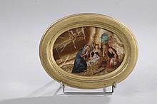 *Ecole de Prague vers 1610. «nativité». Huile sur Marbre ovale. 18.5 x 13.5 cm