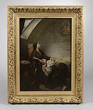 Ecole Française XIXème, d'après TASSERT. «la famille malheureuse». Toile. 115 x 80 cm. Important cadre en bois et stuc à décor feuillagé rapporté (pas aux dimensions de la toile)