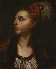 Ecole Française XIXème. «portrait de femme au turban rouge». Toile. (restaurations). 46 x 38 cm