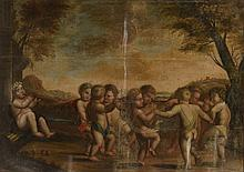 Suiveur de Stella. «Ronde de Putti». Toile. (Acc et manques). 80 x 131 cm