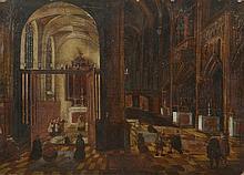 Ecole FLAMANDE du XVIIème, atelier de Peter NEEFS. «Intérieur d'église». Panneau. 25 x 35 cm. Sans cadre. Expert: R. MILLET