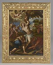 *Ecole Vénitienne XVIIème. «saint Sébastien». Cuivre. 45 x 33 cm