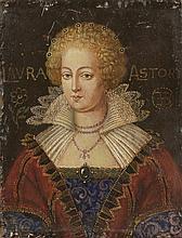 *Ecole anglaise. «portrait de dame de qualité en buste». Inscription LAVRA ASTOR. Panneau. 24 x 18.7 cm