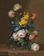 *Ecole Hollandaise XVIIIème. «bouquet de fleurs et papillons». Toile. 58 x 46.5 cm