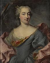 Ecole Française XVIIIème. «portrait présumé de la marquise de MANDON en buste». Toile. (restaurations). 80 x 65 cm. Cadre d'époque XVIIIème. /43
