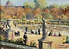 *Ecole Française XXème. «le jardin des tuileries». Toile signée et située Paris 25 en bas à droite. 24 x 33 cm