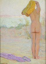 *GUILLAUMET. «femme nue de dos». Panneau signé en bas à gauche. Provenance: vente de l'atelier