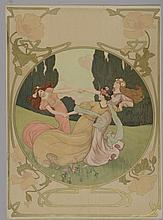 *ATCHE Jane (1880 -?). «la farandole». Lithographie couleur non signée. 52.5 x 38 cm