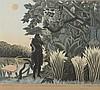 ROUSSEAU Henri Emilien (1875 - 1933). «la charmeuse de serpents». Lithographie couleur N°50/100 gravée et éditée par R LACOURIERE, éditions graphiques des cahiers d'art signée au crayon en bas à droite. 50 x 56 cm