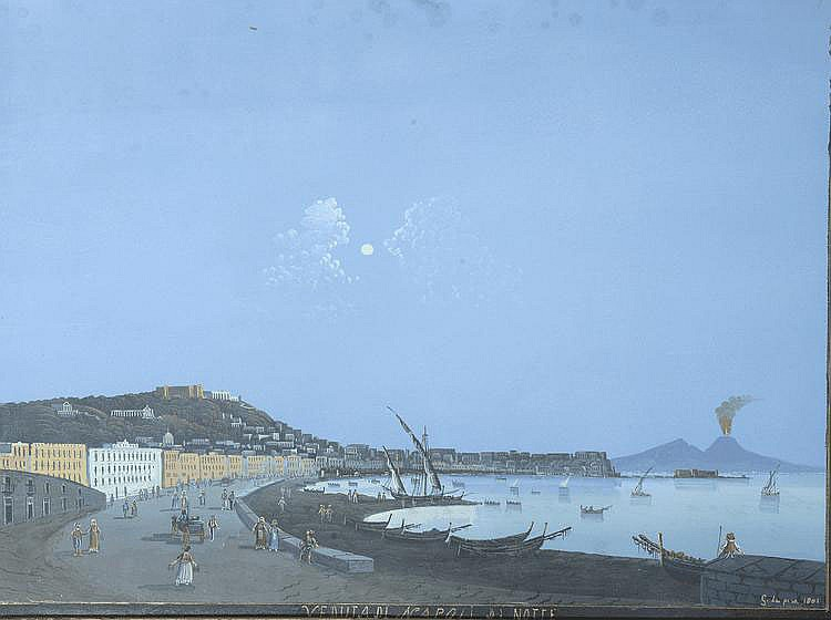 Ecole Italienne.  « vue de Naples la nuit ». Gouache portant une signature G Le Pira 1801 en bas à droite. 38 x 51.5 cm à vue