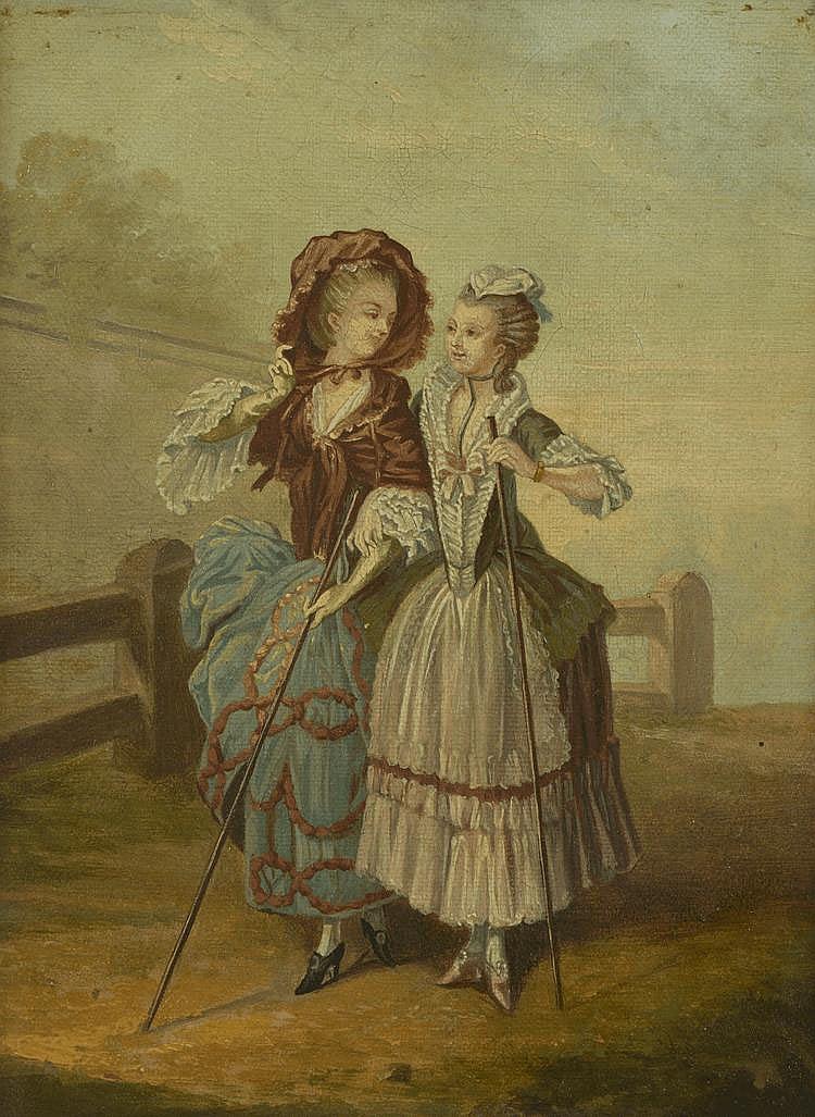 Ecole Française  fin XIXème.  « élégantes en promenade ». Toile. 22 x17 cm