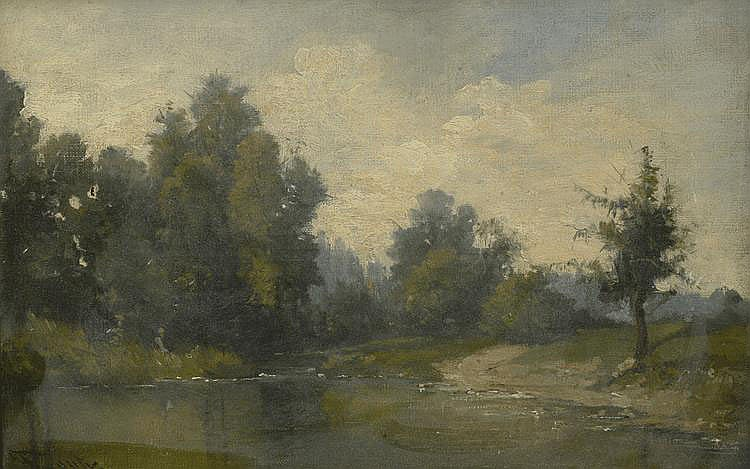 F.  OUTY.  « paysage à la mare ». « cour de ferme animée ». Deux toiles formant pendant signées en bas à gauche. (petits acc). 19 x 28 cm