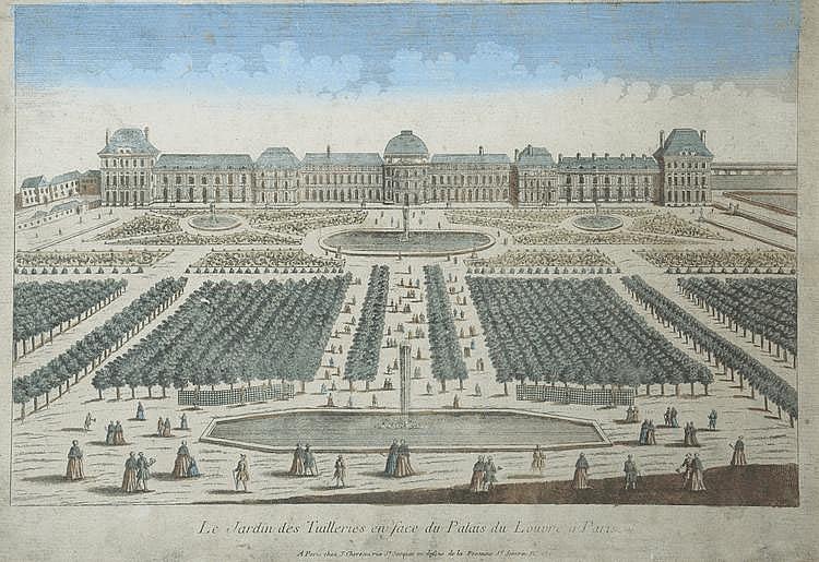 « les jardins des tuileries en face du Palais du Louvres à Paris ». Vue d'optique en couleur. 33 x 48.5 cm à vue