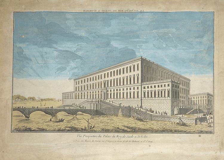 « vue perspective du Palais du Roy de suède à Stockholm ». Vue d'optique en couleur. 32.5 x 45.5 cm à vue