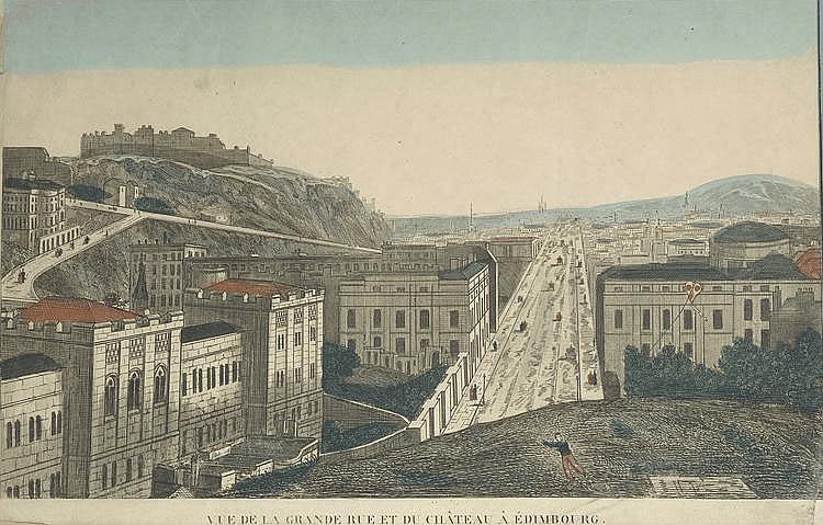 « vue de la grande rue et du château d'Edimbourg ». Vue d'optique en couleur. (petit acc en bas à droite). 26 x 39.5 cm à vue