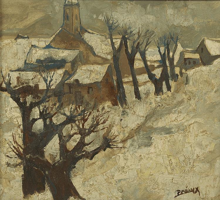 PRÉAUX. «Le village sous la neige». Carton signé en bas à droite. 9 X 21.