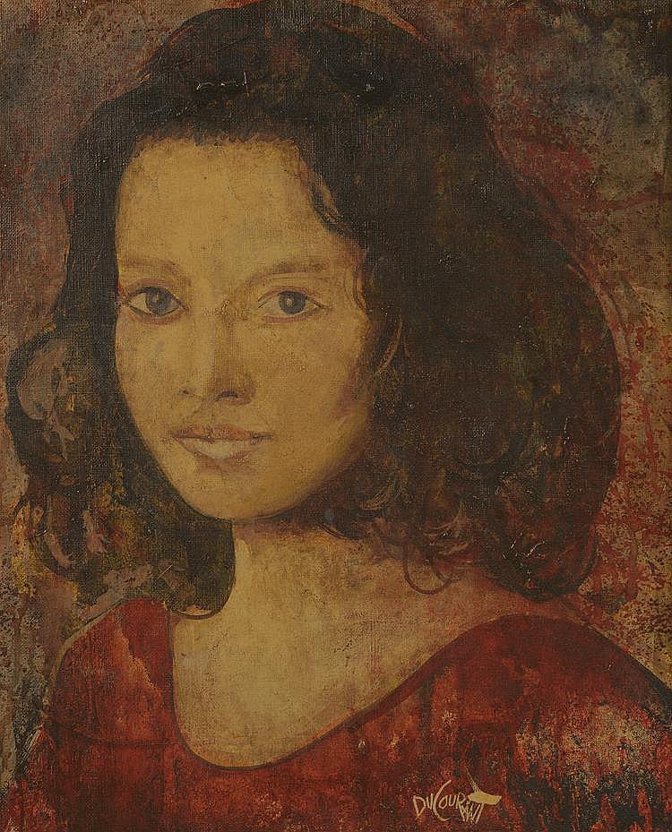 DUCOURANT. «Laura en rouge». Toile signée en bas à droite 88 au dos. 46 X 38.