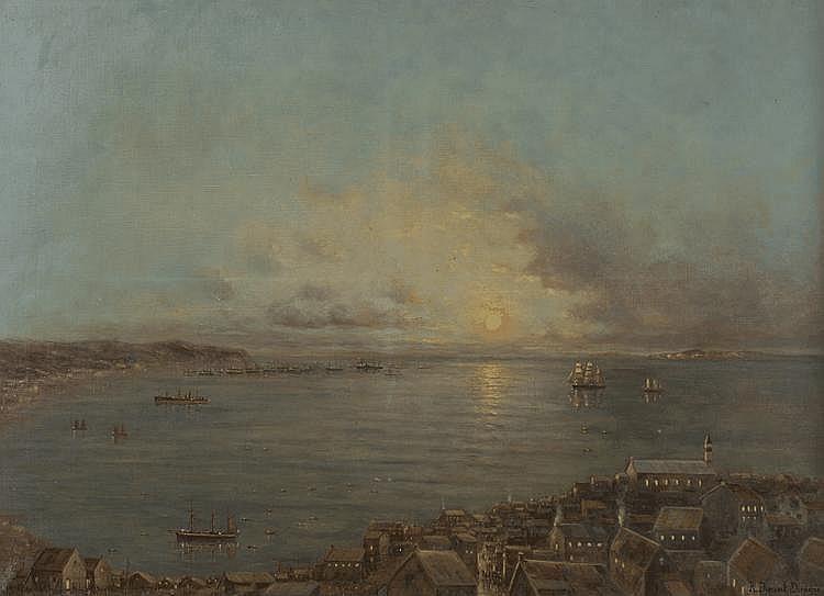 DUMONT DUPURE R. (peintre de la Marine). «La rade». Toile signée en bas à droite. 73 X 100.