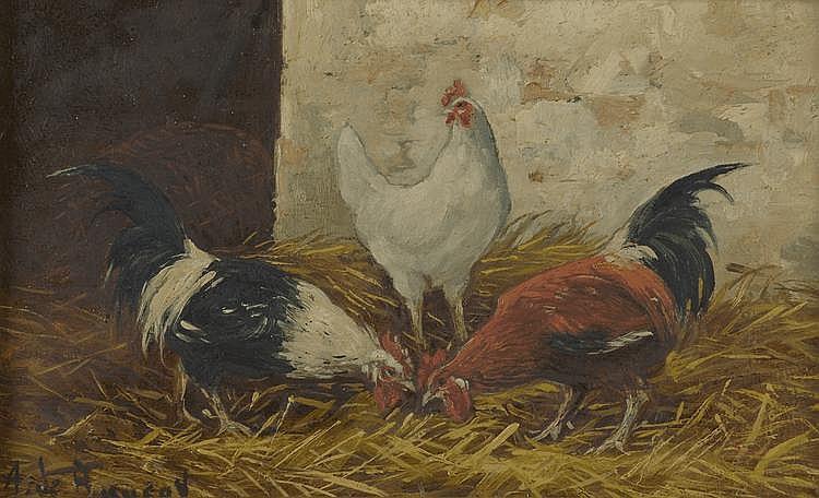 BUACEY A de. «Moutons & coqs». Deux huiles sur panneau signés en bas à gauche. 12 X 19.