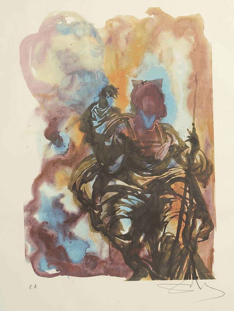 DALI (d'après). Homme assis. Lithographie couleur, épreuve d'artiste signée en bas à droite au crayon. 63 X 47.