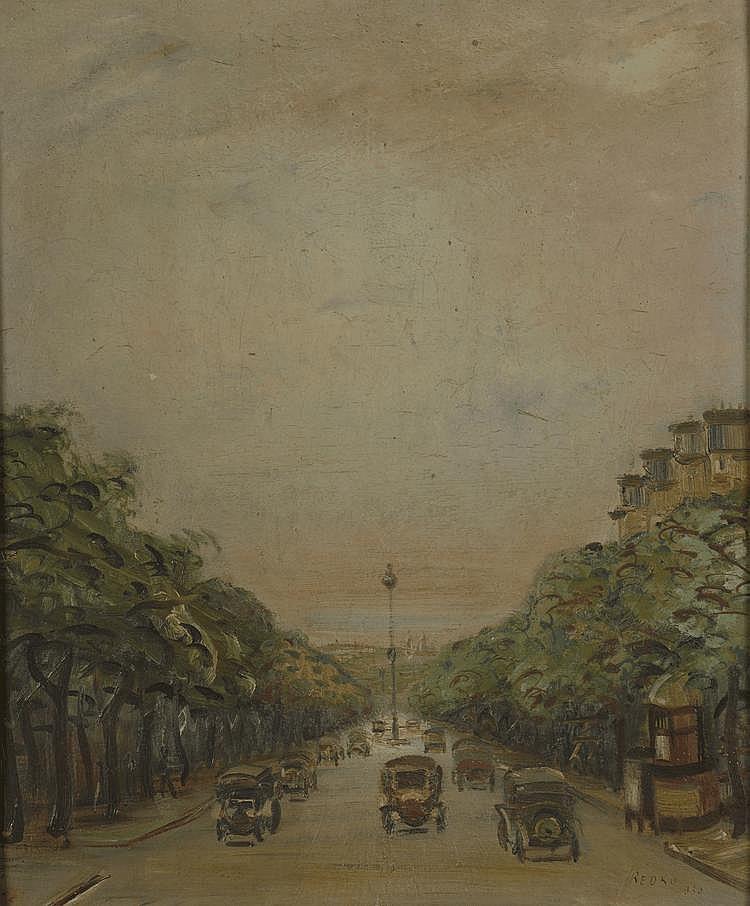 REDKO. «Les grands boulevards». Panneau signé en bas à droite, daté 1930. 60 X 52. Expert: René MILLET 264/20.